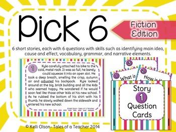 Pick 6: Short, Narrative Stories and Comprehension Questions