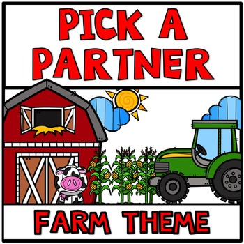 Pick a Partner Cards Student Group Farm Theme