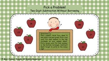 Pick a Problem Subtraction--Two Digit Subtraction Without