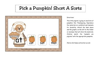Pick a Pumpkin! Short A Sort Literacy Center