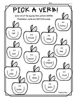 Pick a Verb! Color Worksheet