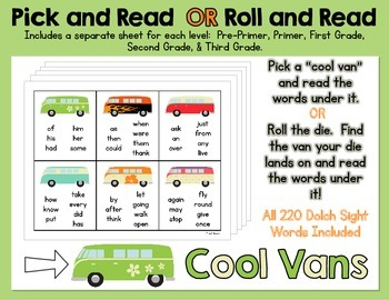 Pick and Read OR Roll and Read: Cool Vans - Contains all 2