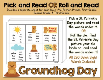 Pick and Read OR Roll and Read: Groundhog Day - Contains a