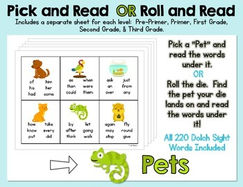 Pick and Read OR Roll and Read: Pets - Contains all 220 Do