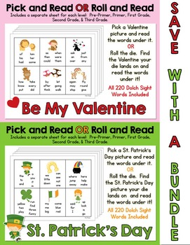 Pick and Read OR Roll and Read: Valentine's Day AND St. Pa