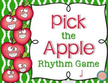 Pick the Apple Rhythm Practice Game {Half Note}