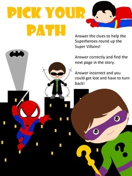FREE Pick your Path - EASY READER  - A Superhero Math Adve