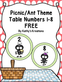 Picnic/Ant Theme Table Numbers FREE