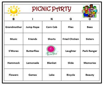Picnic Party Bingo Game- Summer Fun! 60 Cards Printable!