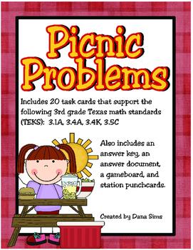 Picnic Problems: 3rd Grade Multi-Step Problems Involving A
