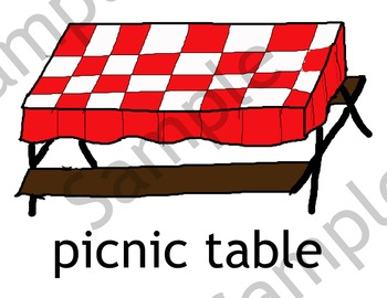 Picnic Theme: 5 Enlarged Cards