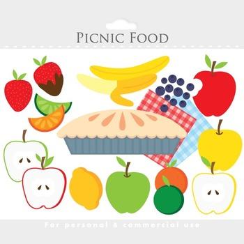 Picnic fruit clipart - food clip art, apple pie, banana, s