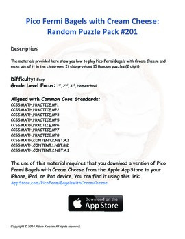 Pico Fermi Bagels with Cream Cheese: Random Puzzle Pack #201