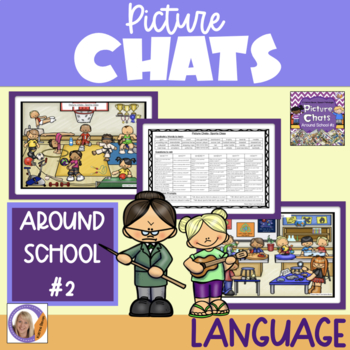 Picture Chat- Around School #2. Vocabulary, 'wh' questions