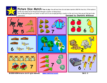 Picture Dice Match - an early addition game