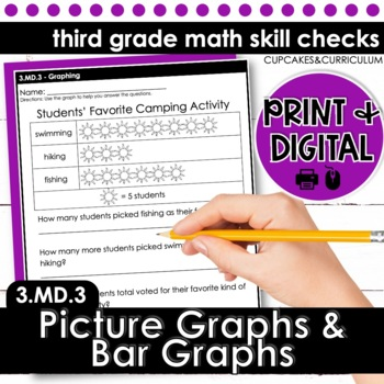 Picture Graphs and Bar Graphs - Third Grade Print and Go