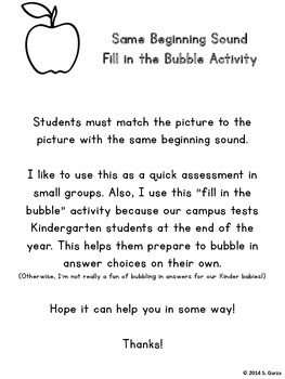 Picture Match - Same Beginning Sound (Fill in the Bubble A