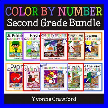 Color by Number Bundle - Second Grade - Color by Addition
