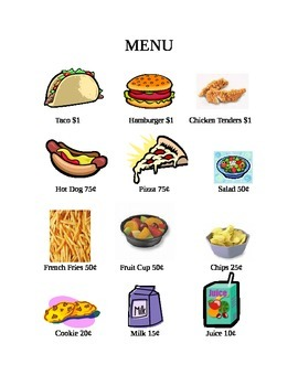Picture Menu with Dollar and Coin Amounts with Questions