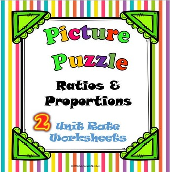 Picture Puzzles Unit Rate 2 Worksheets...Puzzles + Art + N