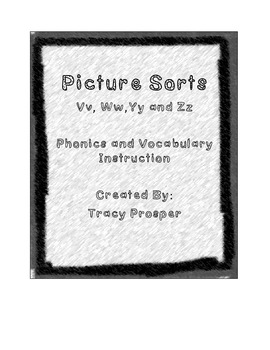 Picture Sorts Initial Consonants - V W Y Z