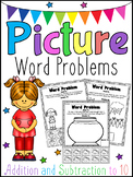 Picture Word Problems Printable Worksheets - Addition & Su