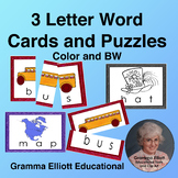 Rhyming 3 Letter Word Cards for Puzzles, Sorting, Word Wal