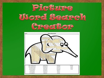 Picture Word Search Creator -- Elephant