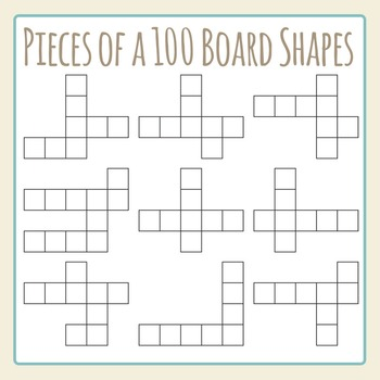 Pieces of a Hundred Board Challenge Shapes Clip Art Set fo