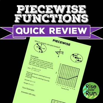 Piecewise Functions Quick Review, FREE