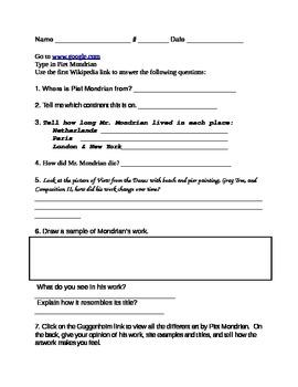 Piet Mondrian Student Webquest