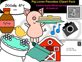 Pig Loves Pancakes Clipart Pack