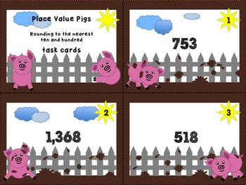 Pig Place Value - Rounding to the nearest ten and hundred