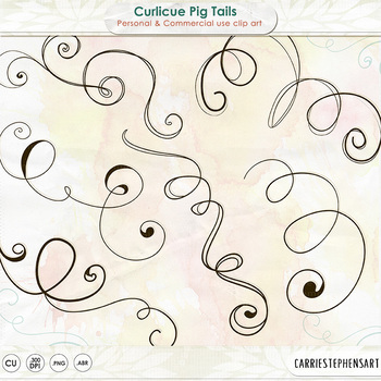Pig Tail Swirl Clip Art, Curly Flourish Doodles, Fun, Whim
