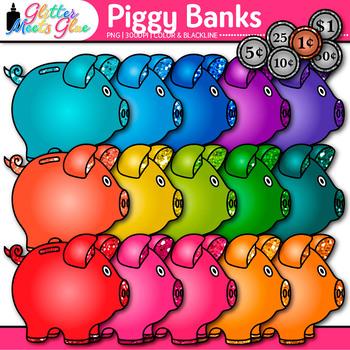 Rainbow Piggy Bank Clip Art {Math Manipulatives & Coins fo