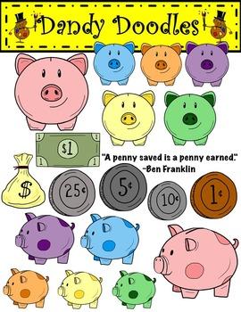 Piggy Banks and Money Clip Art by Dandy Doodles