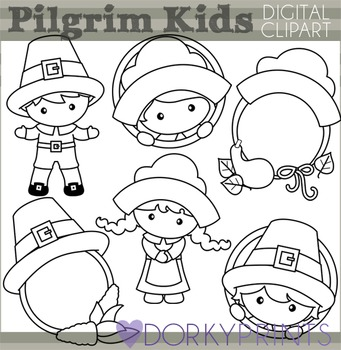 Pilgrim Blackline Thanksgiving Clip Art