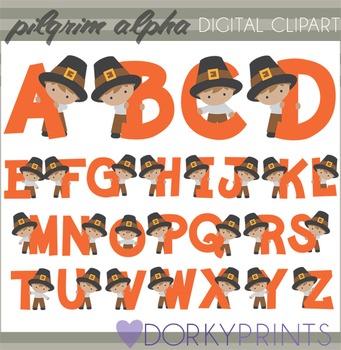 Pilgrim Boy Thanksgiving Alphabet Clip Art