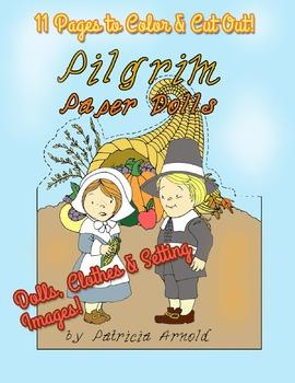 Pilgrim Paper Dolls Plus Clothes and Thanksgiving Setting