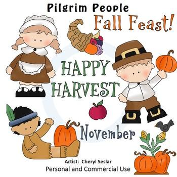 Pilgrim People Color Clip Art C. Seslar native american ap