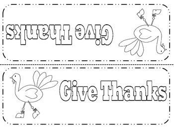 Thanksgiving Place Cards  -  Preschool - Sixth Grade