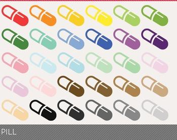 Pill Digital Clipart, Pill Graphics, Pill PNG, Rainbow Pil