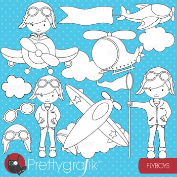 Pilot plane boy stamps commercial use, vector graphics, im