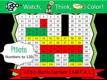 Pinata Hundreds Chart to 120 - Watch, Think, Color! CCSS.1