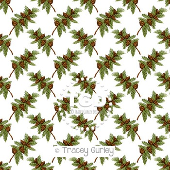 Pine Branch with Pine cones Pattern Repeat on White digita