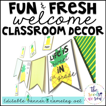 Pineapple Classroom Decor {Nametags and Banner}