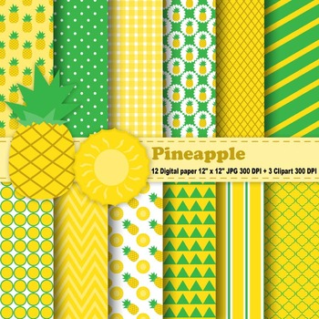 Pineapple Digital Paper & Clipart
