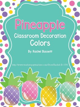 Pineapple Theme Classroom Color Name Posters