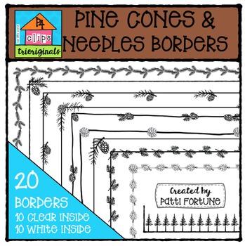 Pinecones and Needles Borders  {P4 Clips Trioriginals Digi