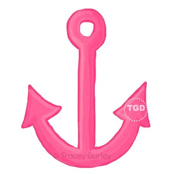 Pink Anchor - Pink Anchor clip art, beach art Printable Tr